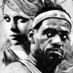 Gabriel Mureno - watercolor, ink, pencil - lebron james